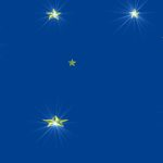 Bright Blue Background, Gold Stars, Flares