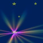 Dark Blue Background, Gold Stars, Rainbow Flare