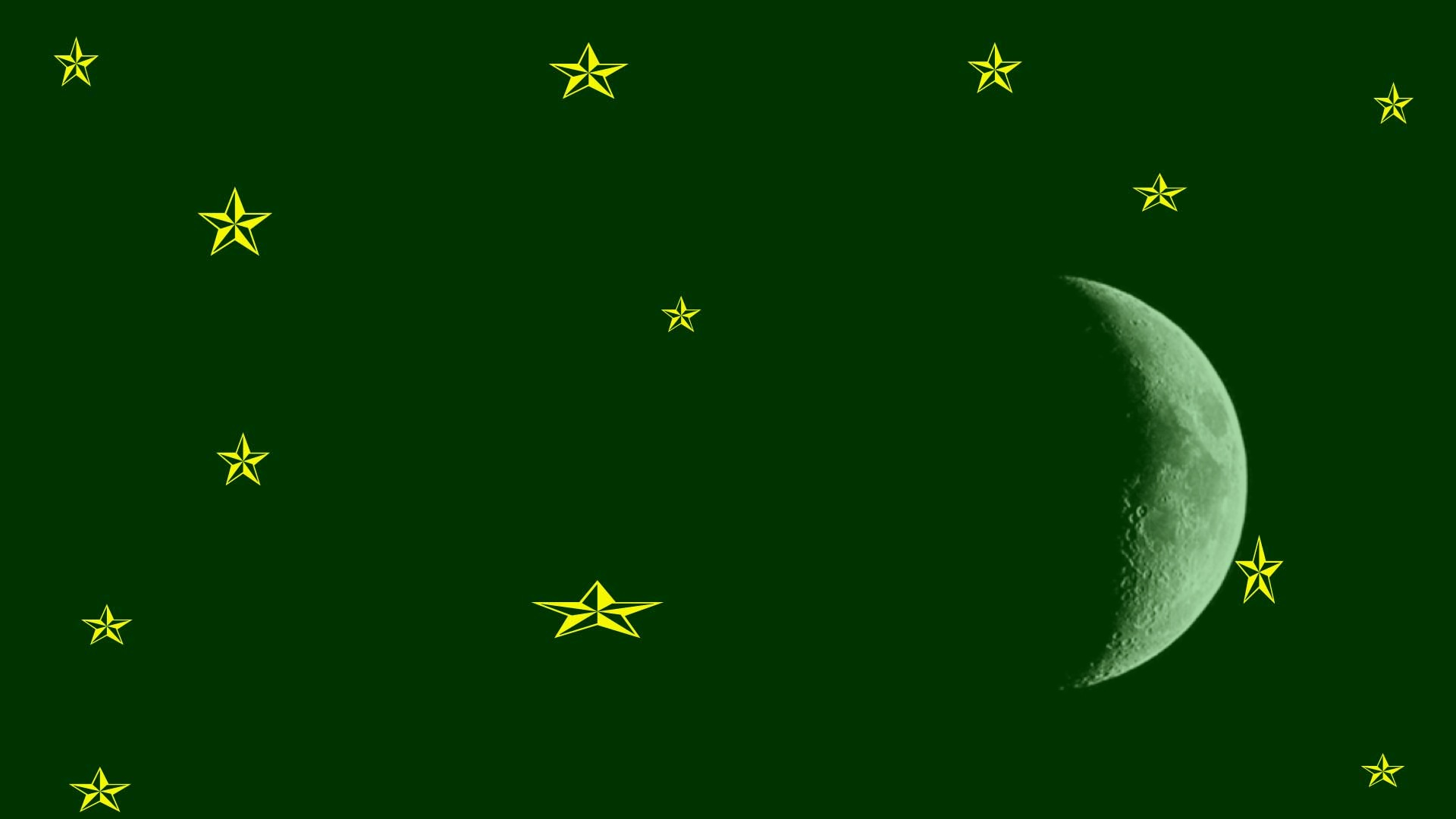 Dark Green Background Gold Stars Crescent Moon