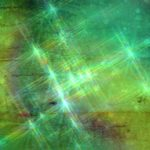 Green, Yellow Batique with Star Flare Background Image